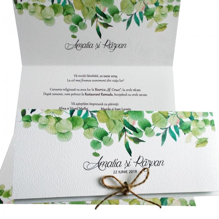 Invitatie nunta frunze verzi 1