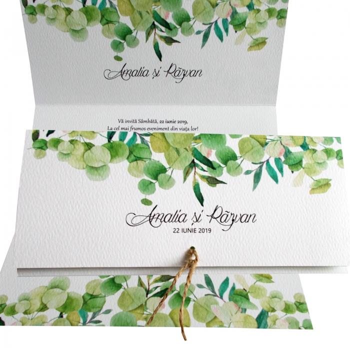 Invitatie nunta frunze verzi 0
