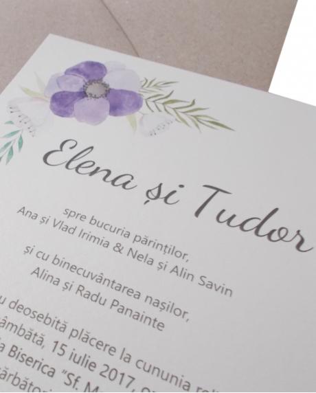 Invitatie nunta flori mov 2