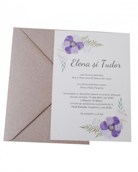 Invitatie nunta flori mov 1