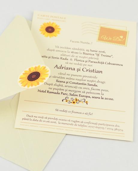 Invitatie nunta tip postcard 13