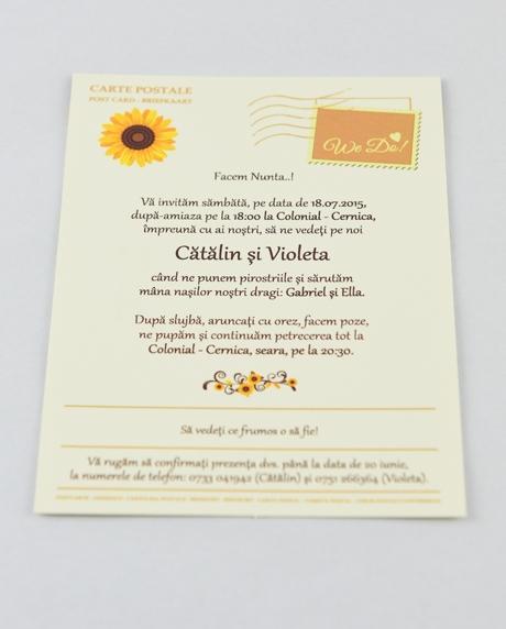 Invitatie nunta tip postcard 5