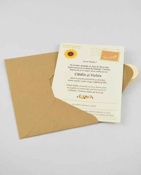 Invitatie nunta tip postcard 7
