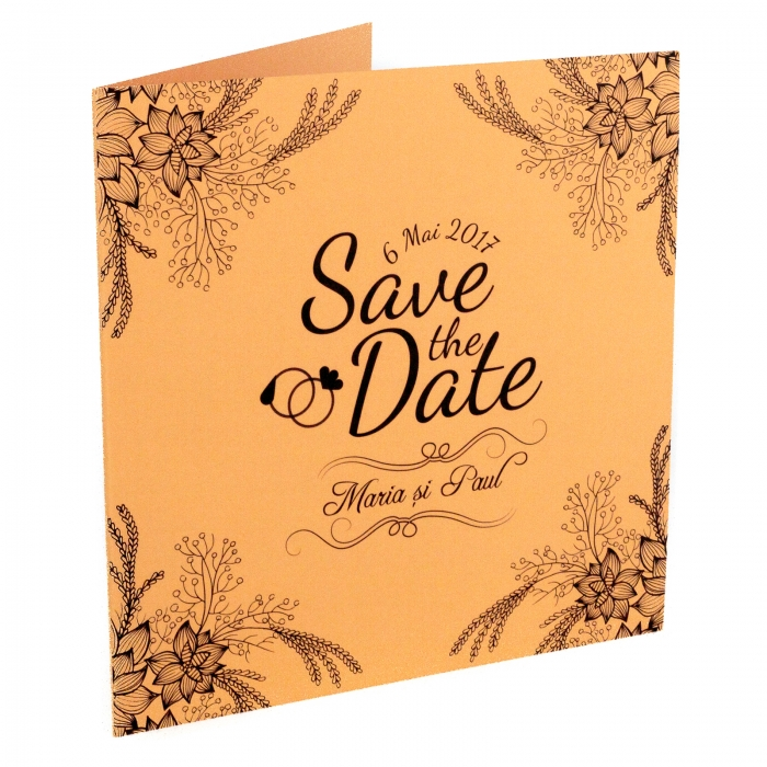 Invitatie nunta somon cu flori si spice 0