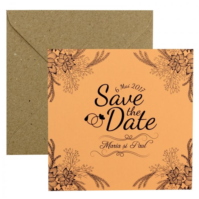 Invitatie nunta somon cu flori si spice 2