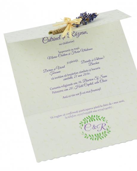 Invitatie nunta lavanda si iedera 0