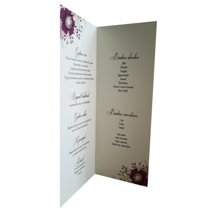 Meniu nunta cu floare mov 1