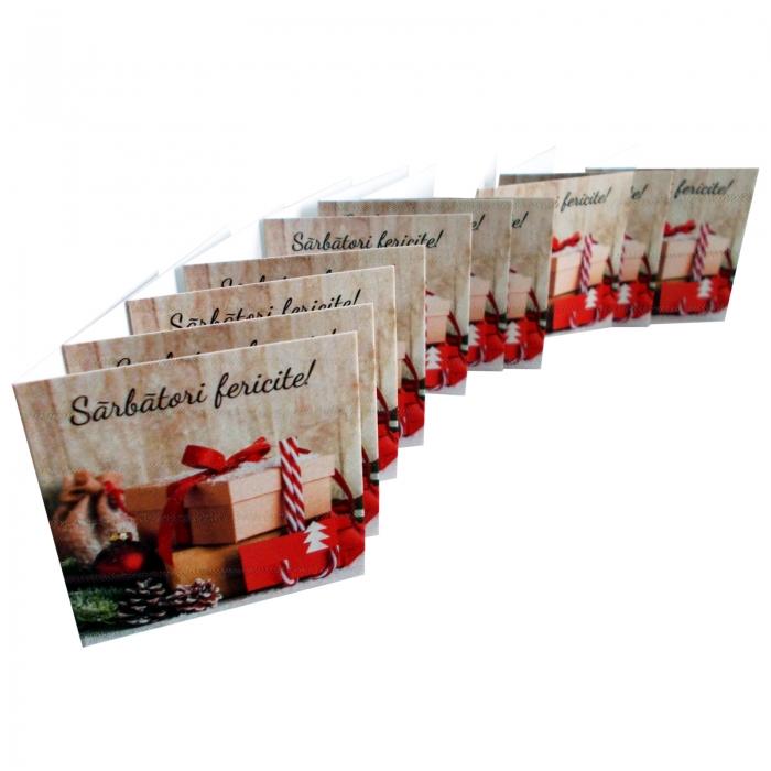 Minifelicitari Craciun cutii cadouri si glob rosu [5]