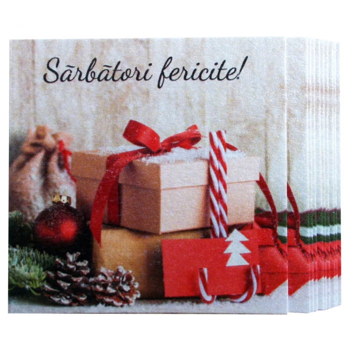 Minifelicitari Craciun cutii cadouri si glob rosu 3