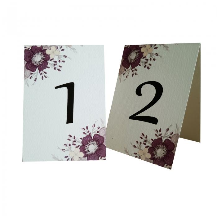 Numere mese nunta cu floare mov 2