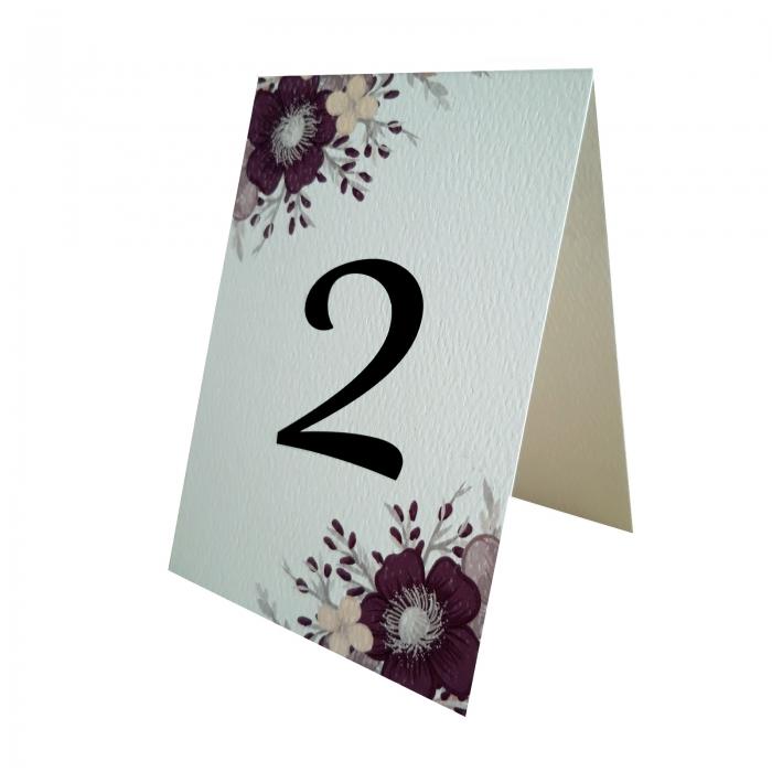 Numere mese nunta cu floare mov 1