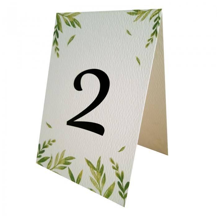 Numere mese nunta cu frunzulite verzi 1