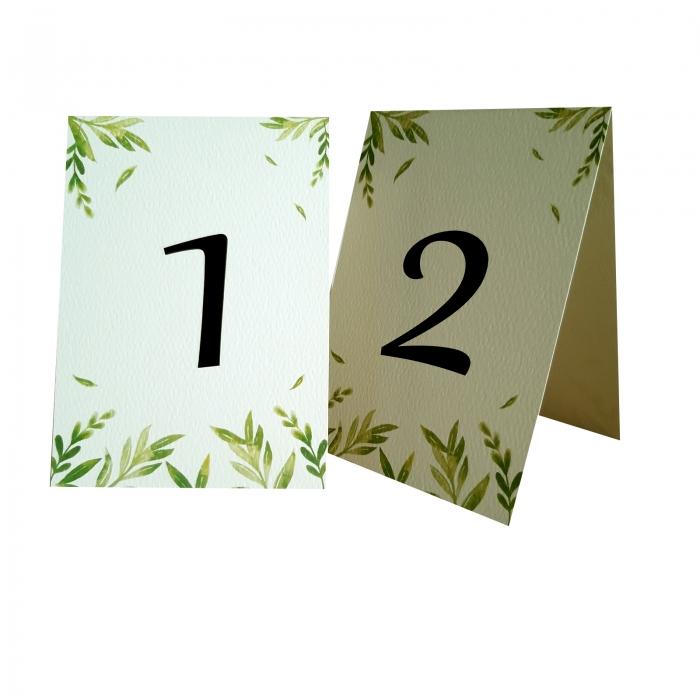 Numere mese nunta cu frunzulite verzi 2