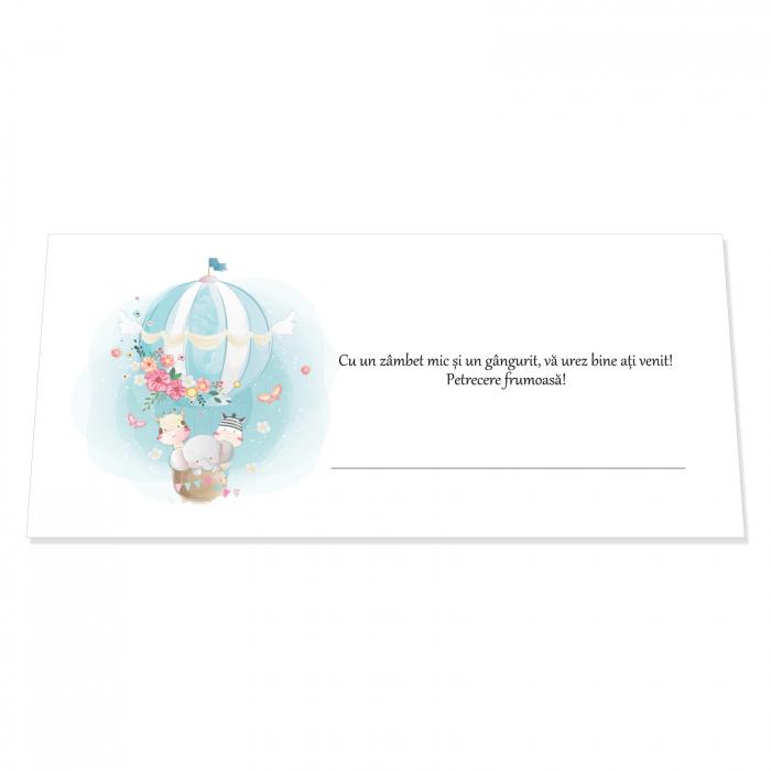 Place card plic de bani botez balon aer cald 0