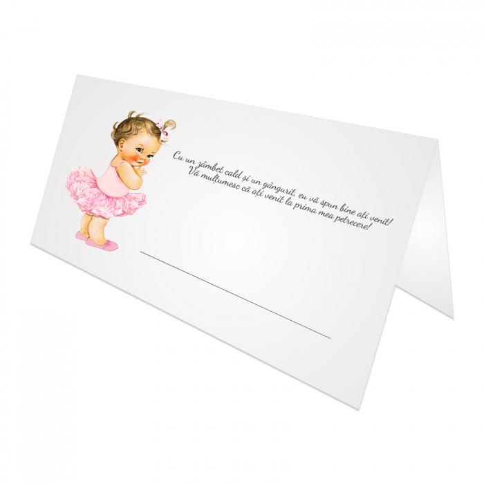 Place card plic de bani botez balerina tutu roz [1]