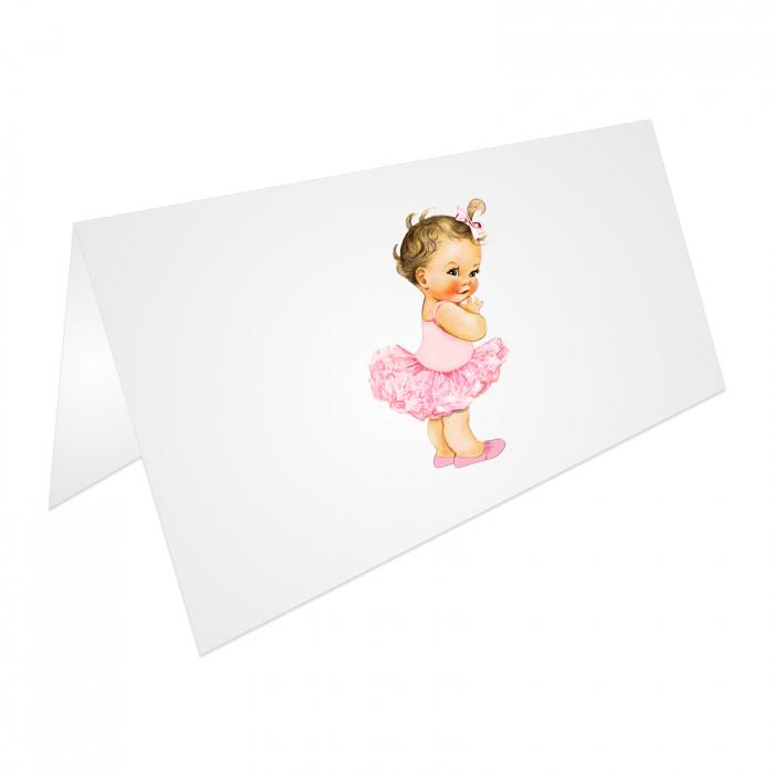 Place card plic de bani botez balerina tutu roz [3]