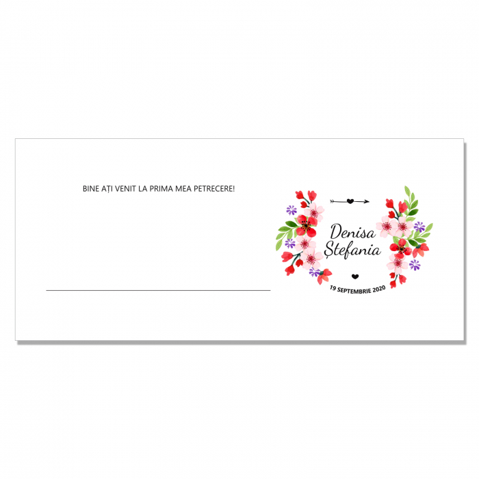 Place card plic de bani botez floricele rosii 0