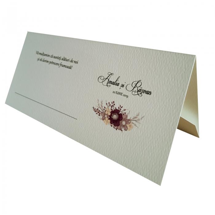 Place card - plic de bani - nunta cu floare mov 0
