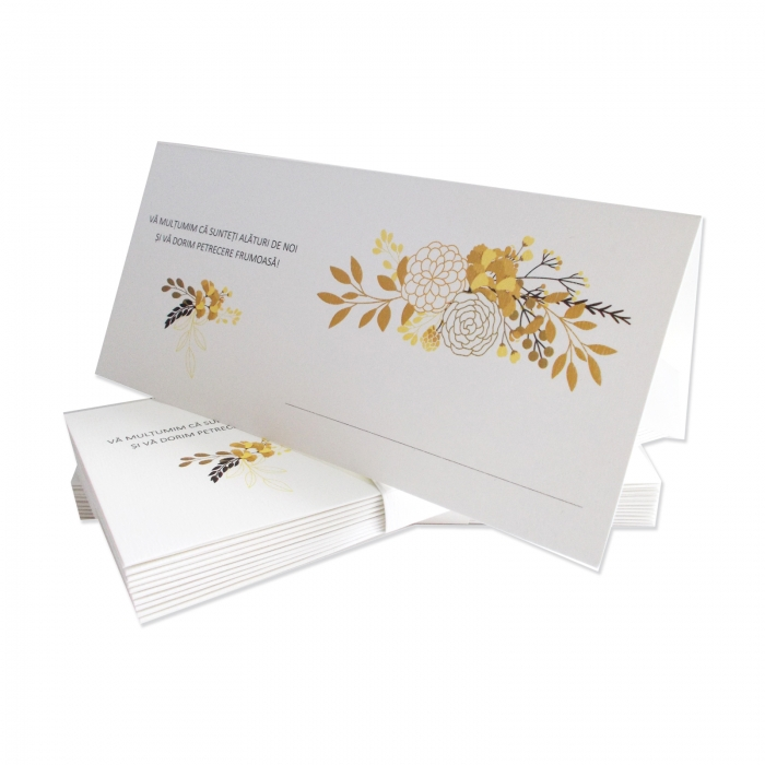 Place card floral gold and black 0