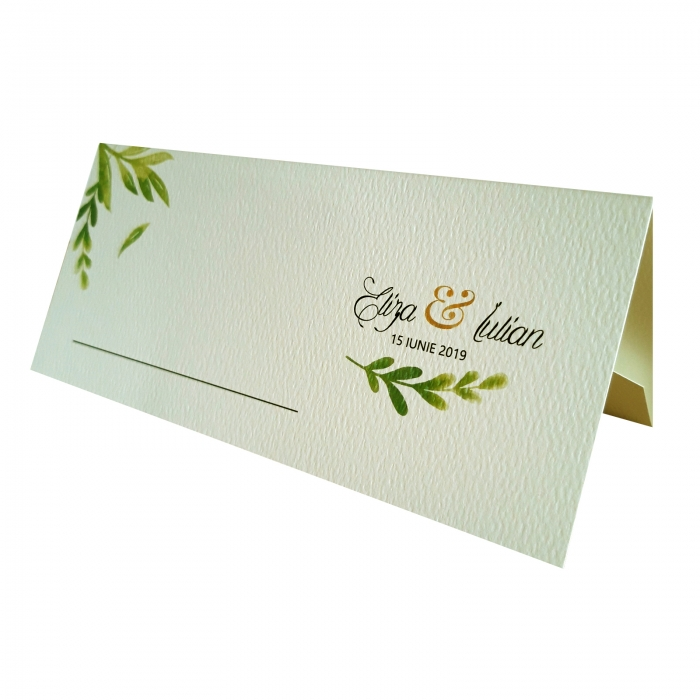 Place card - plic de bani - nunta cu frunzulite verzi 0