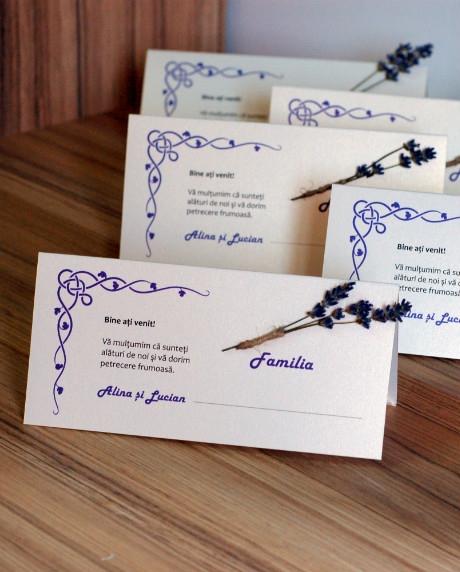 Place card nunta set lavanda 1