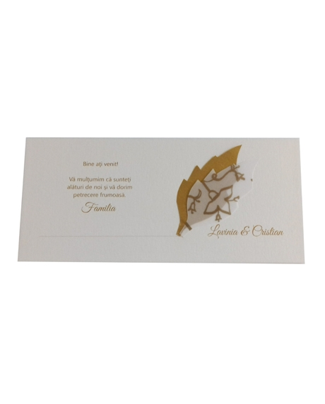 Place card nunta cu frunzulite aurii 1