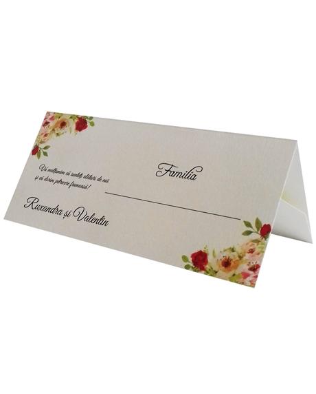 Place card floral trandafiri 0