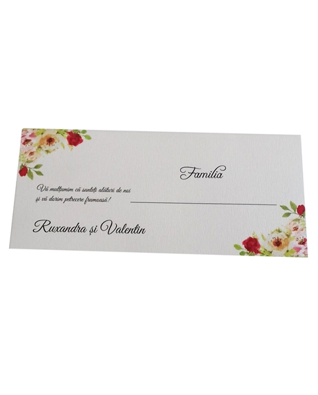 Place card floral trandafiri 2