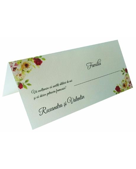 Place card floral trandafiri 1