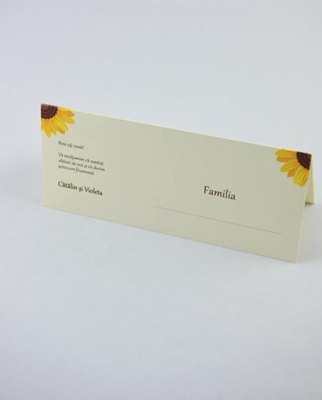 Place card nunta postcard floarea-soarelui 3