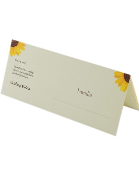 Place card nunta postcard floarea-soarelui 0