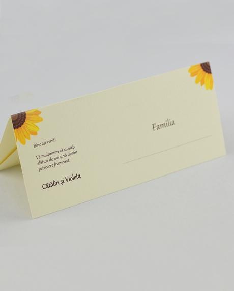 Place card nunta postcard floarea-soarelui 1