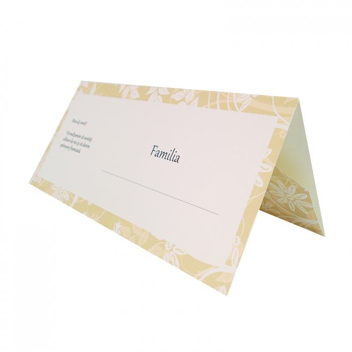 Plic de bani - place card nunta/botez model pattern floral crem 0