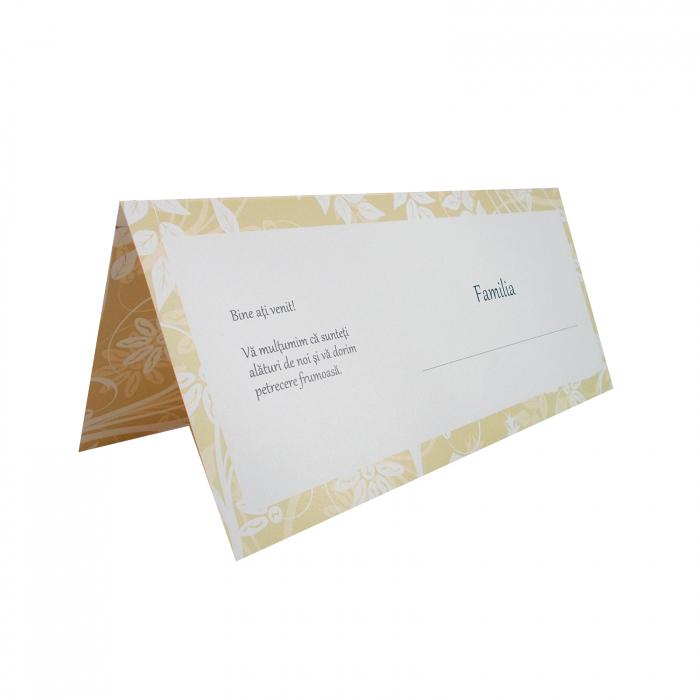 Plic de bani - place card nunta/botez model pattern floral crem 1