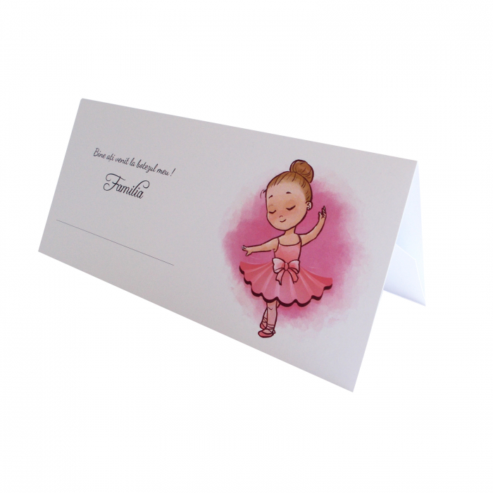 Place card plic de bani botez balerina roz 0