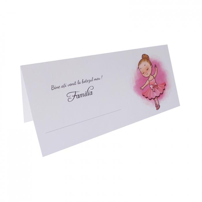 Place card plic de bani botez balerina roz 1