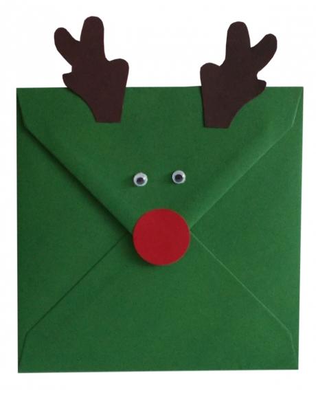 Plic verde Christmas decorat cu ren 0