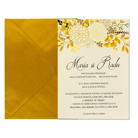 INVITATIE DE NUNTA FLORI GOLD & BLACK3