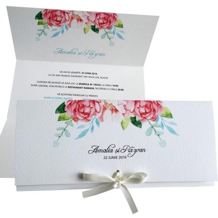 Invitatie nunta flori roz [0]