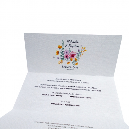 INVITATIE NUNTA - FLORI ROZ SI GALBENE1