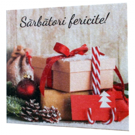 Minifelicitari Craciun cutii cadouri si glob rosu [2]