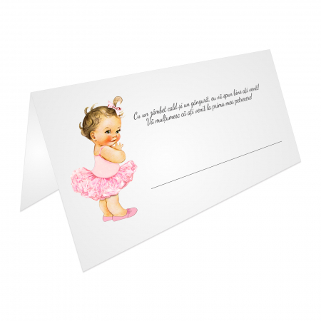 Place card plic de bani botez balerina tutu roz [0]