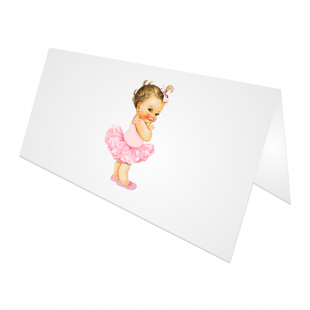 Place card plic de bani botez balerina tutu roz [2]