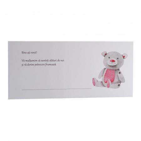 Place card botez ursulet roz [1]