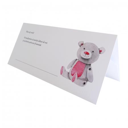 Place card botez ursulet roz [0]