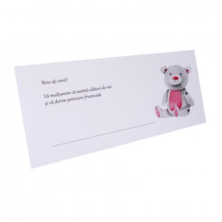 Place card botez ursulet roz [2]