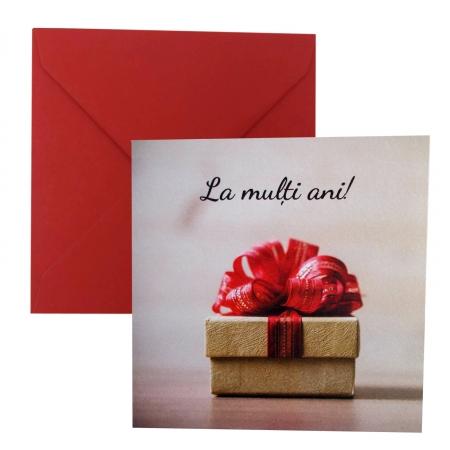 Felicitare Cracun cutie crem cu funda rosie