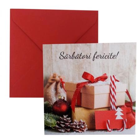 Felicitare Craciun cutii cadouri si glob rosu