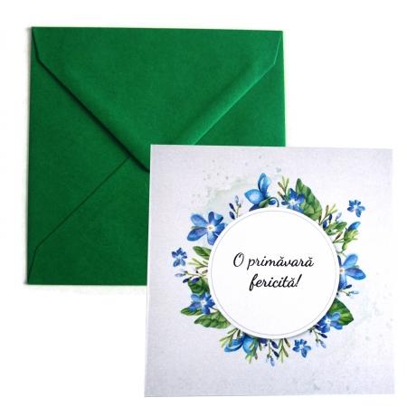 Felicitare martie coronita flori albastre