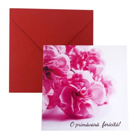 Felicitare martie flori roz